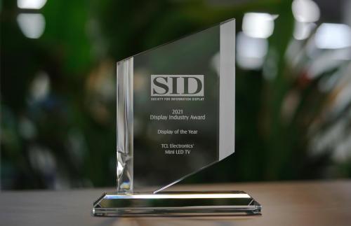 继个人最高奖之后,TCL再获国际显示大奖