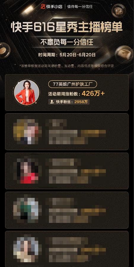 77英姐荣获快手616星秀主播榜单第一名