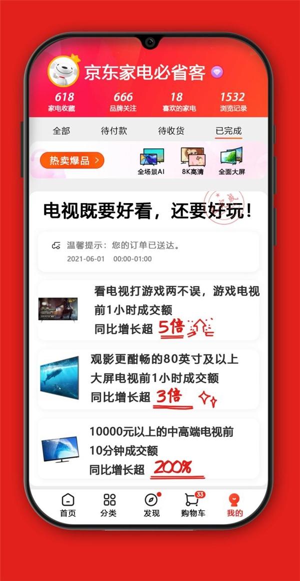 京东618开售1小时取得傲人成绩,游戏电视新品成交额突破千万