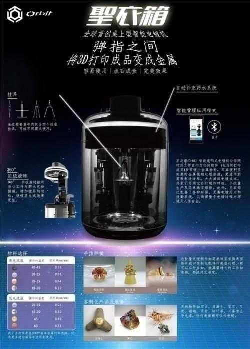 圣衣箱,国际始创桌上型智能电镀设备,令3D打印产品秒变金属制品