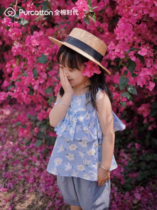 全棉时代亲子出行穿搭look,探寻城市里的花漾夏天