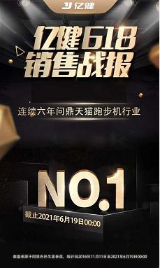 众望所归!亿健持续6年蝉联618天猫、京东跑步机销冠