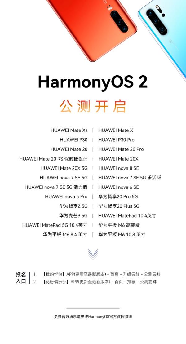 华为更新HarmonyOS 2升级进展:Mate20系列等24款机型启动公测
