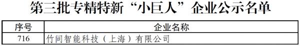 """国家级荣誉!竹间智能入选工信部专精特新""""小巨人""""企业名单"""