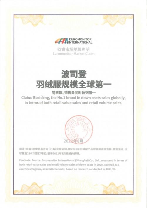 欧睿国际发布全球羽绒服调研报告:波司登规模全球第一