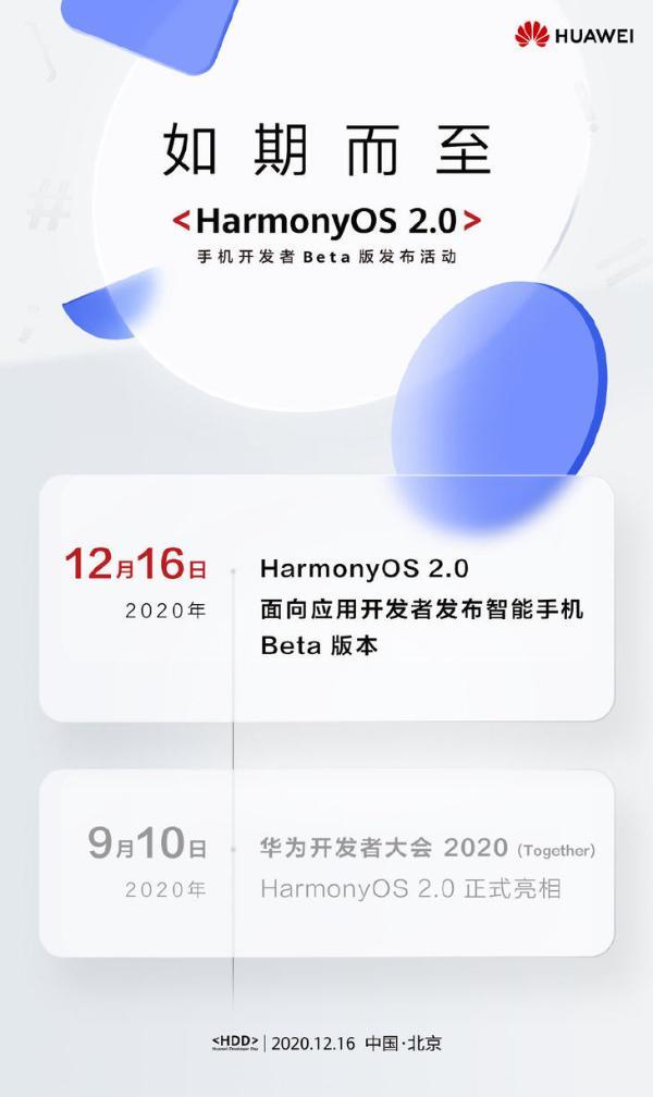 华为鸿蒙OS 2.0手机开发者Beta版即将发布
