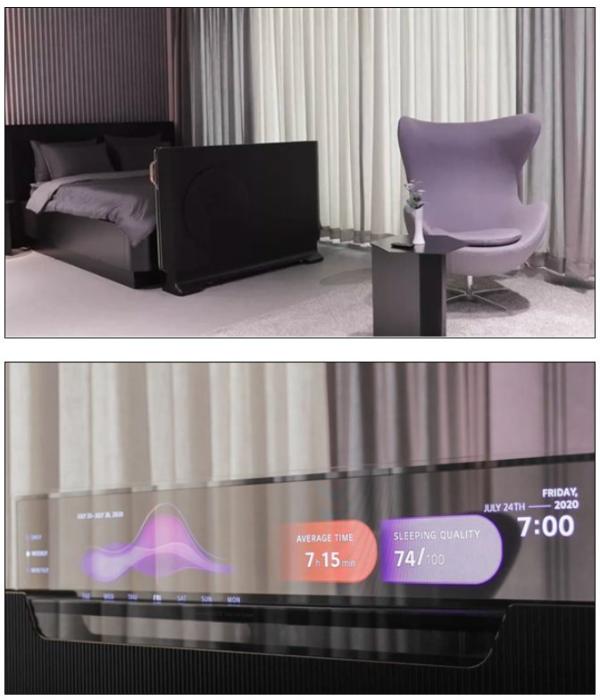 CES:LG透明OLED电视来了,半升起状态可显示用户睡眠数据