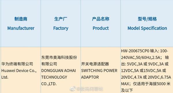 华为新款充电器入网,最高支持135W快充