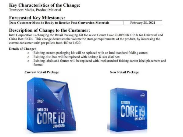 英特尔将更换i9-10900K包装
