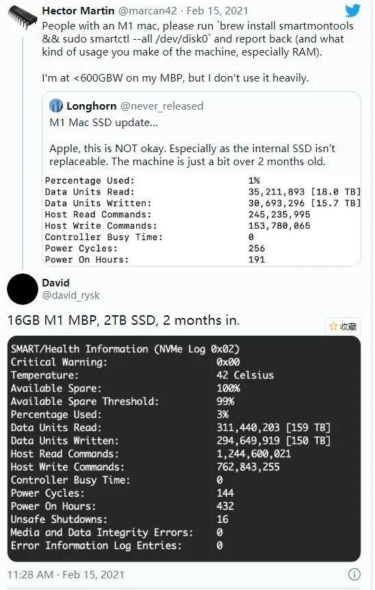 苹果M1处理器Mac再爆新问题:SSD写入量过高_驱动中国