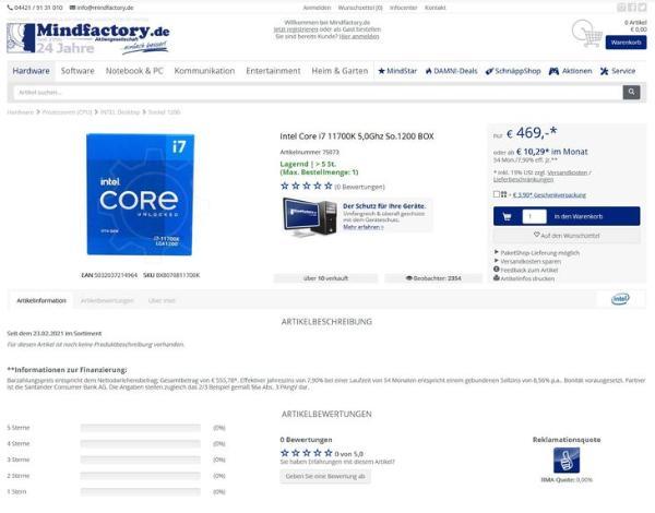 i7-11700K欧洲市场零售价曝光:469欧元