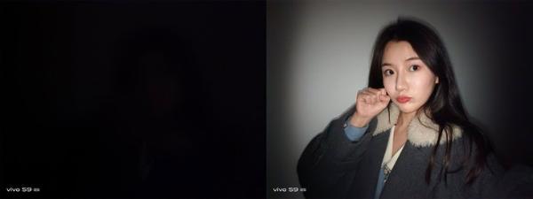 vivo S9夜间自拍样张对比, 暗光自拍也动人
