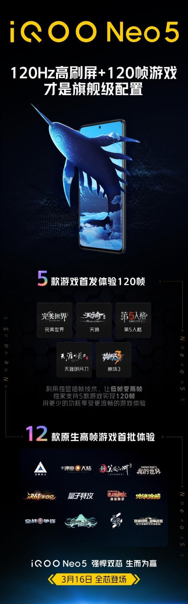 首发120帧崩坏3!iQOO Neo5高刷适配名单公布