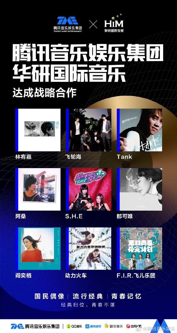 腾讯音乐与华研国际音乐达成合作