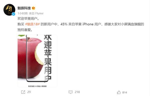 魅族18新用户有45%来自苹果iPhone用户