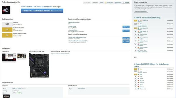 厉害!RX6900XT显卡超频至3.321GHz