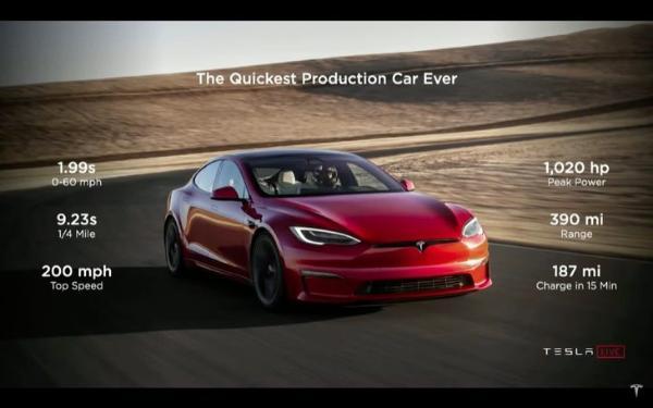 加速更快!特斯拉新车Model S Plaid版来了