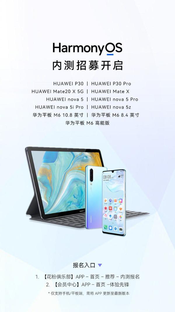 华为HarmonyOS 2开启更多机型内测 11款产品