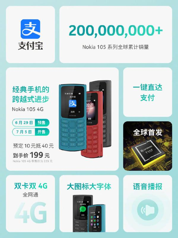 诺基亚105 4G新品开售 搭载紫光展锐芯片
