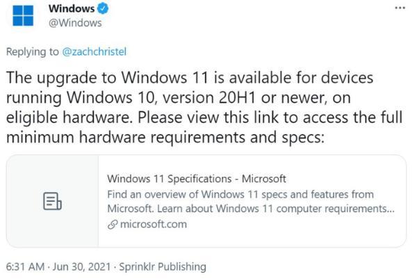 微软:Win10升级11需要达到20H1以上版本