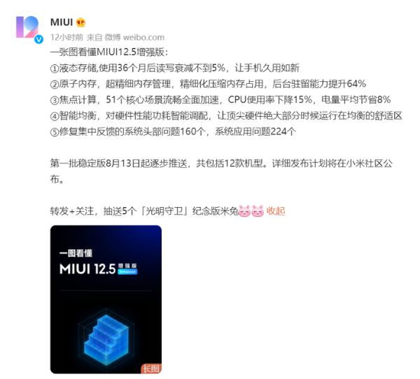 MIUI12.5增强版发布 第一批8月13日起逐步推送