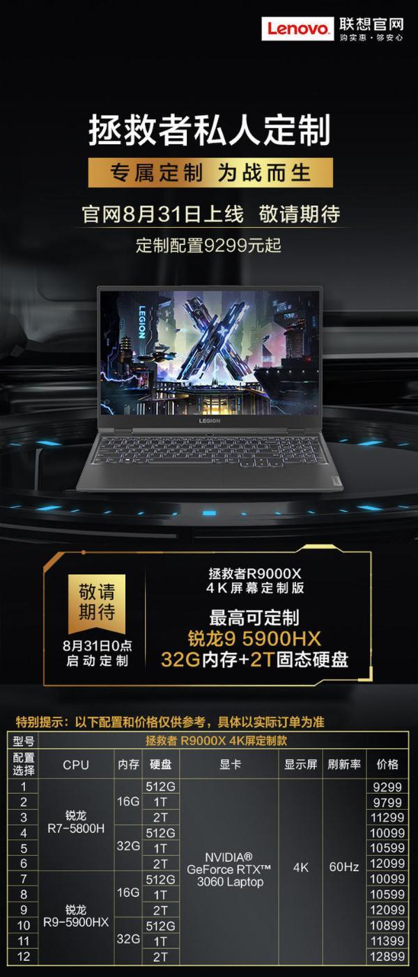 拯救者R9000X 4K屏幕定制版即将上线