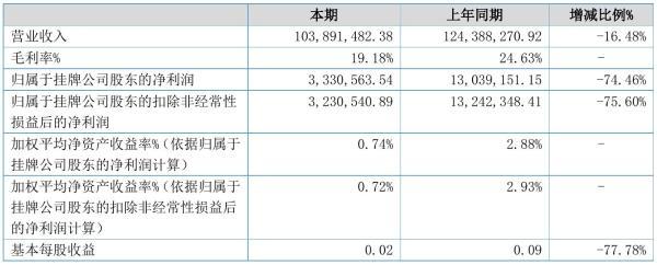 宏祥新材2021年半年度净利333.06万元 同比净利减少74.46%