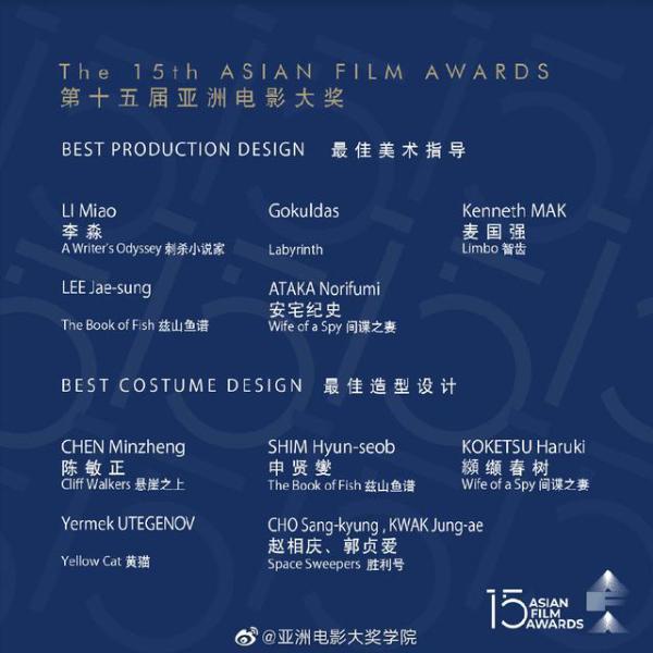 第十五届亚洲电影大奖公布入围名单 张艺谋两部影片共获11项提名