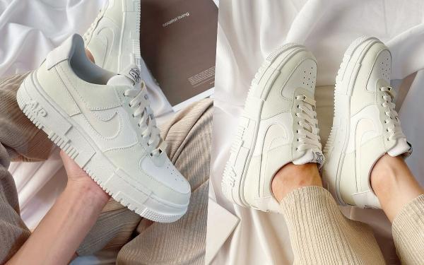 最美AF1就它!Nike Air Force 1爆款新色『盐系奶油』整理、微厚底腿变超细!