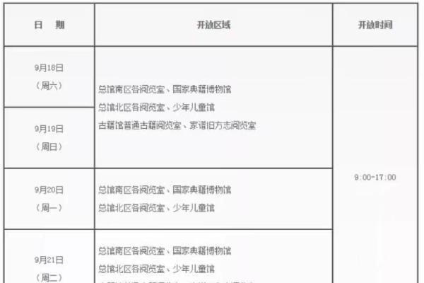 """""""朝9晚5""""开放 国家图书馆发布中秋节期间开馆安排"""