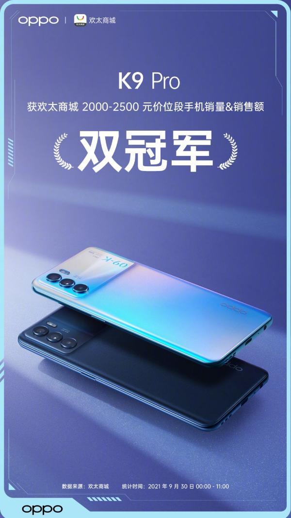 OPPO K9 Pro荣获多电商平台销量&销售额双料冠军